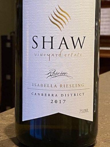 Shaw Vineyard Estate Reserve Isabella Riesling 2017