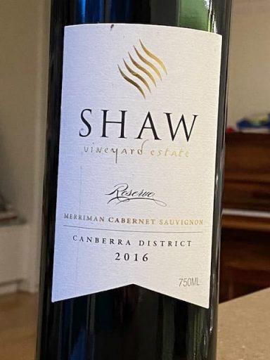 Shaw Vineyard Estate Reserve Merriman Cabernet Sauvignon 2016